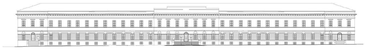 Чертеж фасада здания
